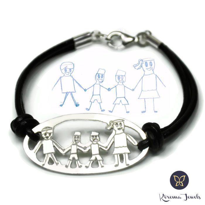 pulsera de plata del dibujo de tu hijo